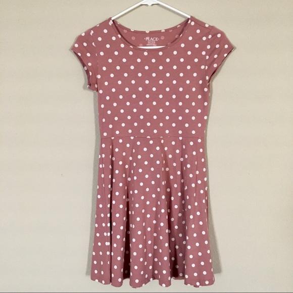 Girls Dusty Pink/White Polka Dot Dress Size 10/12